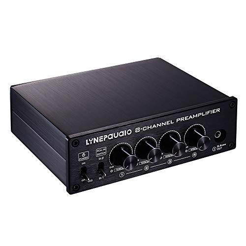 ZTH LINEPAUDIO B981 Pro 8-ch Pre-Amplificador de Altavoz Distribuidor Switcher Altavoz Comparador, Amplificador de señal con Control de Volumen y Auricular/Función de comprobación (Negro)