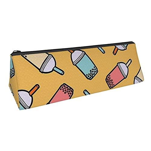 Bolsa de almacenamiento para bolígrafos con diseño de té de burbujas de pequeña capacidad, para niños, niñas, universidad, escuela, oficina, alicates de papelería