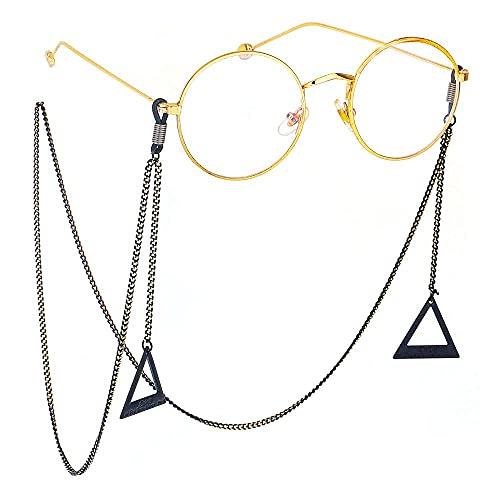 YANJ Gafas Cadena Gafas de Sol Cadena Gafas Cordón Gafas Correa Cuerda Cuello Colgante Moda Simple Negro Cadena Colgante Triangular Grande Gafas de Sol con Cadena de Gafas