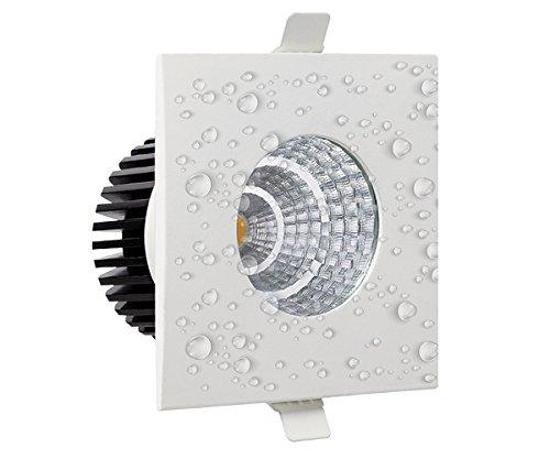 6 watt IP65 Wasserfest LED Spot Einbaustrahler Strahler Einbauleuchte Einbauspot Deckenleuchte Deckenlampe Hochwertig für Bad, Badezimmer, Feuchte Räume Eckig 90x90mm weisser Rahmen neutralweiß
