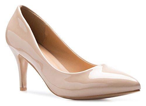 Olivia K Klassische D'Orsay Damen-Pumps, geschlossener Zehenbereich, Stiletto-Absatz, für Kleid, Arbeit, Party, mit niedrigem Absatz, Beige (Beigefarbenes Lack.), 40 EU