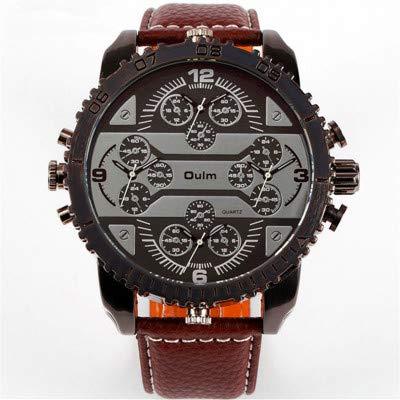 LLDKA 4 beweging Japan kwaliteit analoog kwartshorloge voor mannen witte wijzers en zwarte leren band casual horloge, Coffeecolor