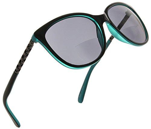 Fiore Cateye Bifocal Reading Sunglasses Readers for Women [Aqua, 1.25]