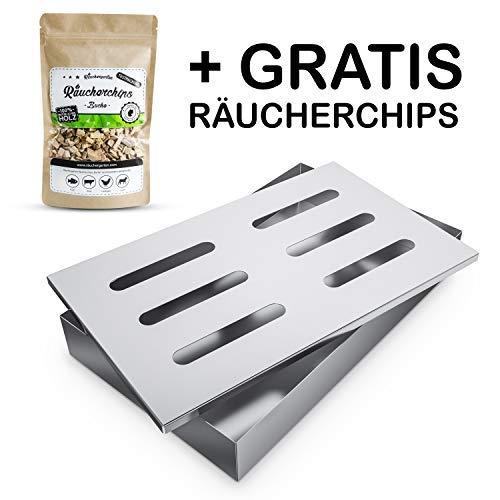Räuchergarten Smokerbox mit Räucherchips - Edelstahlbox für Gas-, Kohle- und Elektrogrill - Räucherbox für feinste Raucharomen + großes E-Book mit Räucherrezepten