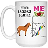N\A Divertidos Mejores Entrenadores de Lacrosse Unicornio cumpleaños Taza de café con Leche