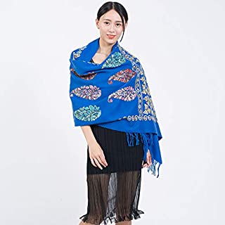 Ms. Scarf Shawl Embroidery Chinese Style Leaves Flower Wool Scarf Yunnan National Wind Embroidered Scarves Large Shawl 200 * 70