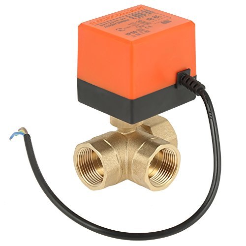 Válvula de bola eléctrica de latón, AC 220 V Válvula de bola...