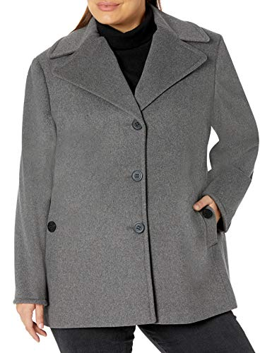 Calvin Klein Plus Size Womens Single Breasted Peacoat, Ligth Gray, 2X