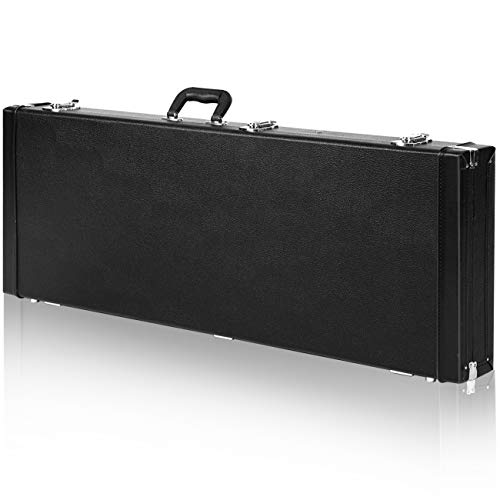 CAHAYA Electric Guitar Case Hard Shell Rectangle Shaped Guitar Case Hardshell for Standard Electric Guitars with Lock Latch Keys Black