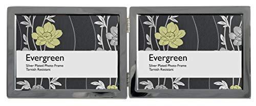 Evergreen foto-/fotolijst, beschermd tegen aanslag, met smalle, verzilverde rand, dubbel