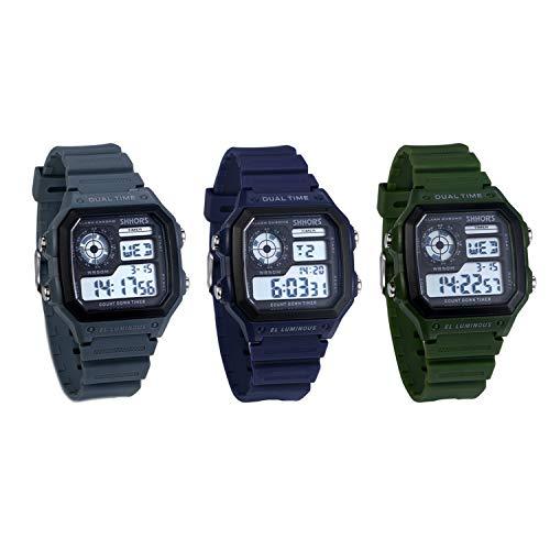 JewelryWe 3pcs Herren Digitaluhr Digital Armbanduhr 30M Wasserdicht Sportuhr Quadrat Uhren mit 12/24H, Chronograph Countdown, Stoppuhr, Wecker, Kalender und LED Beleuchtung (Blau Grün Grau)