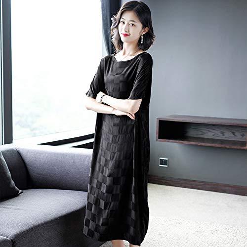 BINGQZ Cocktail Jurken Populaire vrouwen zwarte plaid over de knie jurk nobele temperament zomerjurk