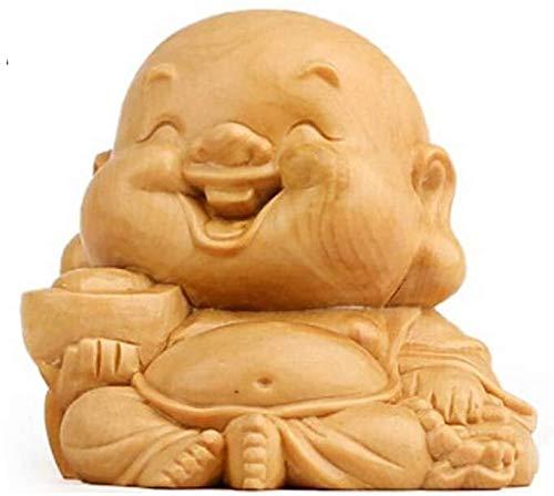 AINIYF Feng Shui Chino decoración de Madera de álamo Amarillo de Risa estatuas de Buda, Coches, del Ministerio del Interior y, atraer Regalos de Riqueza y Buena Suerte