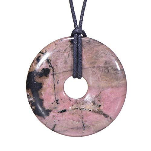 Morella Damen Halskette 80 cm Donut Edelstein Anhänger Rhodonit im Samtbeutel