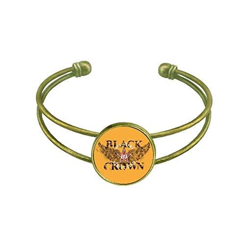 DIYThinker Bracelet jonc ouvert avec motif graffiti, ailes et couronne