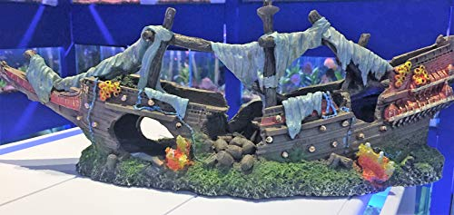 Mezzaluna Gifts - Adorno para acuario (36 cm), diseño de barco pirata
