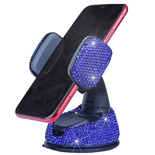 Amiss Universal Bling Cell Phone Holder, 360°Adjustable Car Phone Mount with One More Air Vent Base, Crystal Car Interior Decoration, for Windshield, Dashboard and Air Vent (Deep Blue)