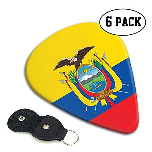 Púas de guitarra con bandera de Ecuador, paquete de 12 púas de guitarra de celuloide de plástico universales, regalo para bajo, guitarras acústicas eléctricas