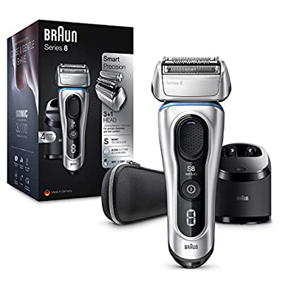 Braun Series 8 8390cc Next Generation Electric Shaver Rechargeable and Cordless Razor Clean and Charge Station with Fabric Travel Case Wet and Dry Foil Shaver 100 Percent Waterproof Silver, 2 pin plug