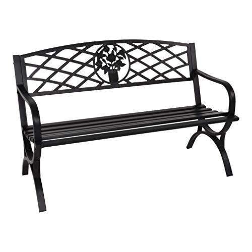 LLiving Gartenbank Bank Parkbank Oxford 3-Sitzer schwarz 127 cm 180kg Tragegewicht