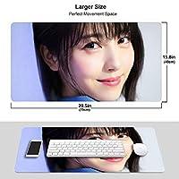 泉 里香 マウスパッド 光学マウス対応 パソコン 周辺機器 超大型 防水 洗える 滑り止め 高級感 耐久性が良い 40*75cm