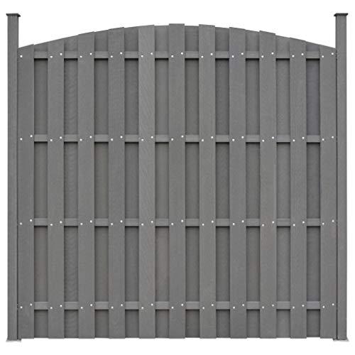 Festnight WPC-Zaunelement mit 2 Pfosten | WPC Zaun | Zaunpaneel | Gartenzaun | Sichtschutzzaun | Dichtzaun | Windschutz Zaun | Grau Geschwungen 180 x (165-180) cm