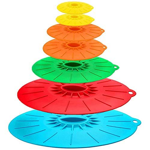 SODIAL Couvercle pour -Ondes RéSistant à la Chaleur 7 PièCes - Couvercles en Silicone de DifféRentes Tailles pour Tasses, Bols, Assiettes, Casseroles, PoêLes, Casseroles, Four