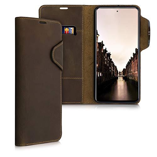 kalibri Carcasa Compatible con Xiaomi Redmi Note 9S / 9 Pro / 9 Pro MAX - Funda con Tapa Tarjetero y Soporte de Piel - marrón
