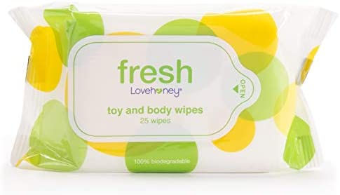 Lovehoney Fresh Biodegradable Adult Toy Body Wipes with Aloe Vera Pack of 25 product image