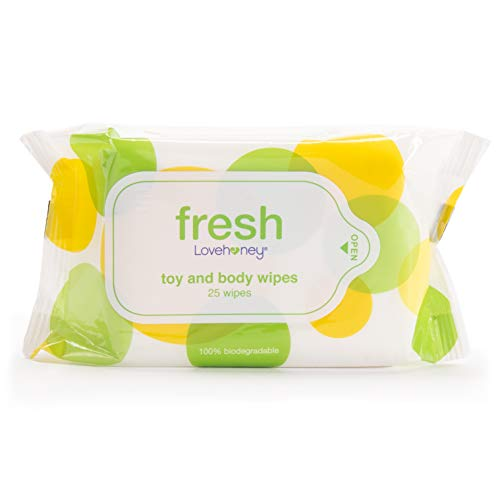 Lovehoney Fresh Biodegradable Adult Toy & Body Wipes with Aloe Vera - Pack of 25