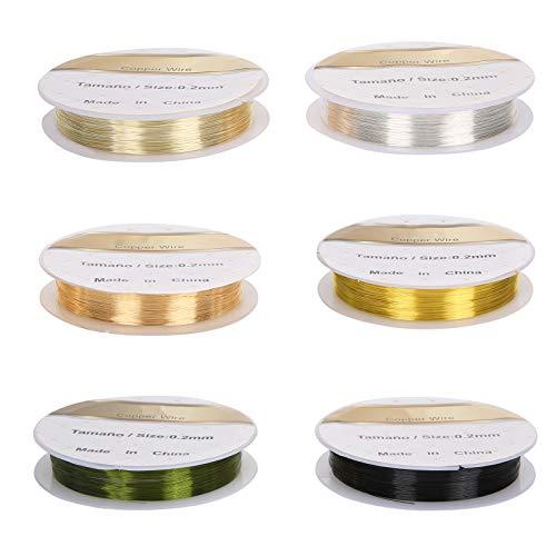 6 rollos de alambre de cobre para decoración de uñas, líneas de cinta de rayas para decoración de uñas, alambre de cobre para bricolaje flexible, sin decoloración, alambre de cobre para manicura