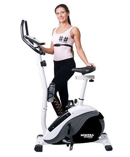Miweba Sports Ergometer ME400 Trimmrad Cardio Heimtrainer - App Steuerung - 12 Kg Schwungmasse - Pulsgurt - Magnetbremse - LCD Display (Schwarz Weiß)