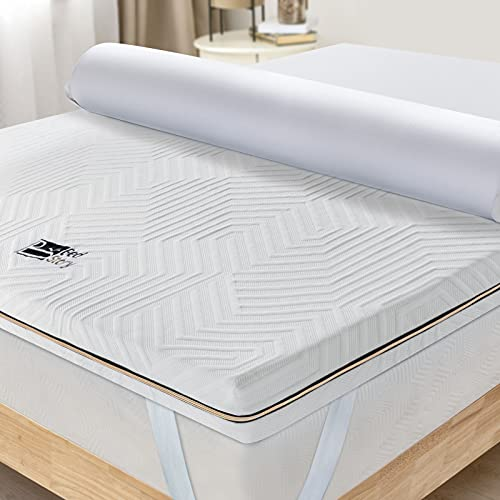 BedStory 3 Inch Memory Foam Mattress Topper King Size, Gel / Bamboo Charcoal / Green Tea / Copper Infused Cooling Memory Foam Bed Mattress Pad with Removable & Washable Cover, CertiPUR-US Certified