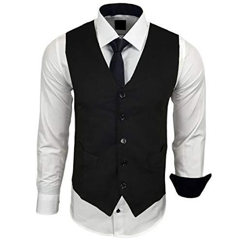 Rusty Neal Herren Hemd mit Weste Krawatte Anzugs Sakko Business Hochzeit Freizeit Hemden Set wählbar RN-44-HWK, Größe:XL, Farbe:Weiss/Schwarz