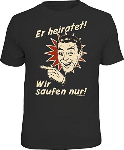 Camiseta original de Rahmenlos para el equipo JGA en la despedida de soltero a la izquierda, del novio: él heiratet... Negro XXXL