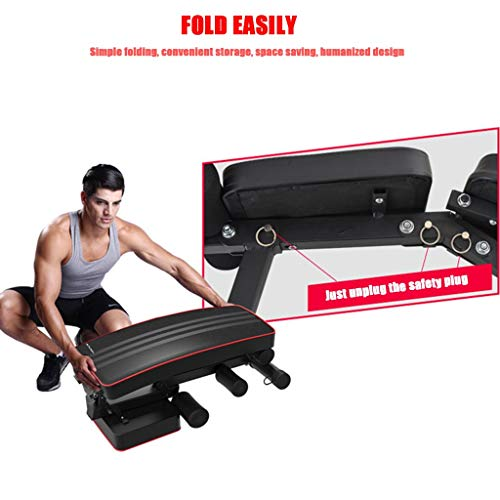 Foldable Weight Bench Sit up Bench Adjustable Fitness Bench with Exercise Rope Home Gym Workout Bench Incline Abs Benchs Flat Fly Weight Press Fitness Exercise Strength Training Muscle Gains