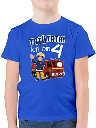 Feuerwehrmann Sam Jungen - Tatü Tata! Ich Bin 4 - blau - 104 (3/4 Jahre) - Royalblau - Kindergeburtstag - F130K - Kinder Tshirts und T-Shirt für Jungen