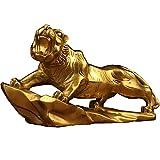 J.Mmiyi Feng Shui Estatua Tigre Decoracion Figura, Hecho A Mano Latón Escultura Animal Riqueza Hogar Adornos, Regalo De Felicitación,Bronce
