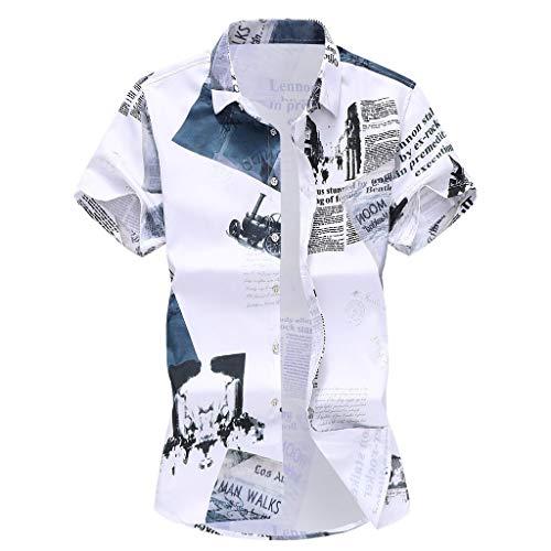 Yowablo Herren Hemd Hawaiihemd Freizeithemd Kurzarm Hemd Herren Kurzarm (L,13Weiß)