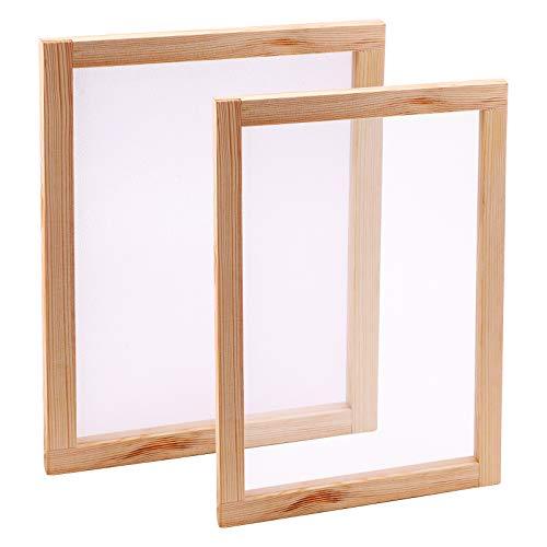 LUTER 2PCS Holzpapierherstellungsform, Kiefer Papierherstellungsform-Rahmensiebwerkzeuge, für DIY-Papierhandwerk getrocknete Blumenhandwerk (34 * 24 cm, 30 * 20 cm)