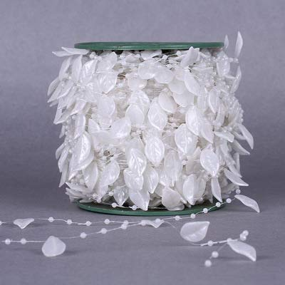 Luleke 60m/Rolle Blätter Perlenkette Perlengirlande Perlenschnur Perlengirlande Hochzeit Tischdeko Brautstraus Perlenband Hochzeits- und Partydeko Geburtstag Taufe Weihnachten (Weiß)