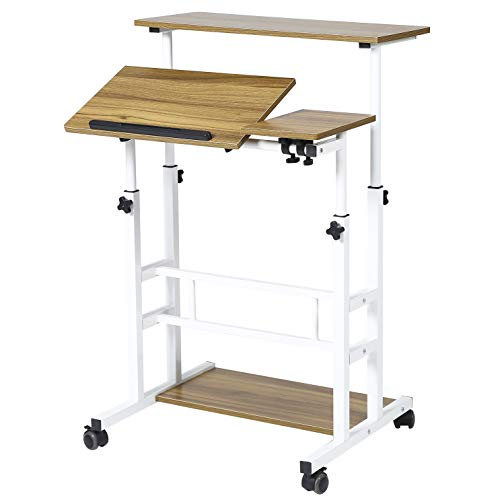 UNICOO- Height Adjustable Sit Stand Workstation, Mobile...