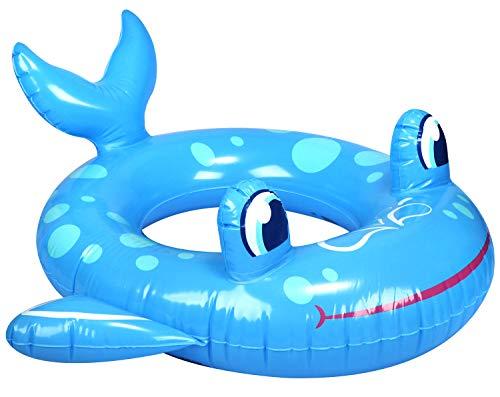 com-four® Schwimmreifen aufblasbar für Kinder bis 6 Jahre - Schwimmring im Fisch-Design - Schwimmhilfe ideal für Strand und Pool (Walfisch)