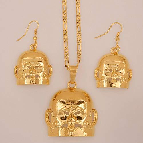 NCDFH Pendientes de Papúa Guinea Collares de máscara de Color Dorado Conjuntos de Regalos de joyería étnica para Mujeres # J0187 Cadena de 60 cm