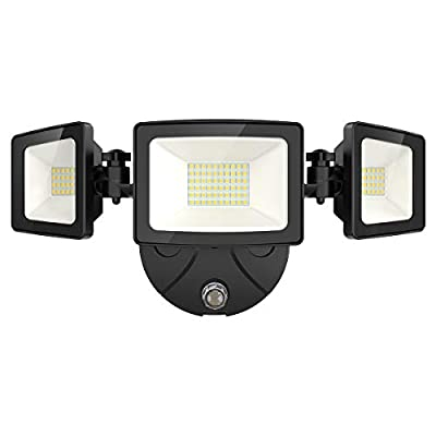 Onforu 50W LED Dusk to Dawn Security Lights, 5000lm Exterior Flood Lights, IP65 Waterproof Outdoor Three Head Security Lights Fixture, 5000K Daylight White Flood Lights for Garage, Patio, Yard, Porch