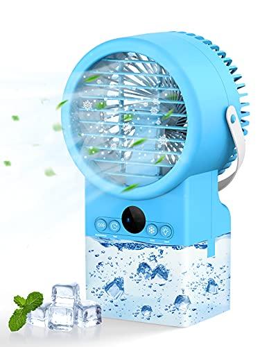 Bluefire Climatiseur Portable, 500 ML 4 en 1 Mini Refroidisseur d'air, Climatisation Personnel Portable 7 Couleurs, Minuterie 2/4 h, 3 Vitesses, Air Humidificateur pour Maison Bureau Camping