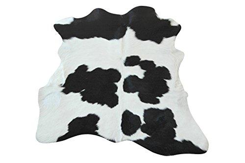 Tapis Peau De Veau Luxe - Belle Noir et Blanc - 97 cm x 79 cm Déco Tapis Intérieur de Narbonne Leather Co
