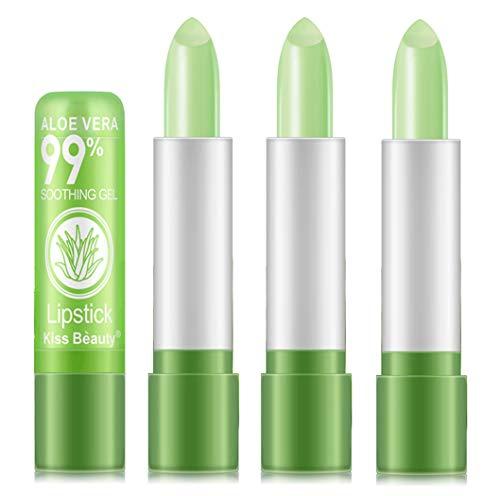 3 Stück Farbe Magic Temperaturänderung verändert Lippenstift, BEEXY Aloe Vera Lippenstift Langlebiger Nahrhafte Moisturizing Lippenbalsam