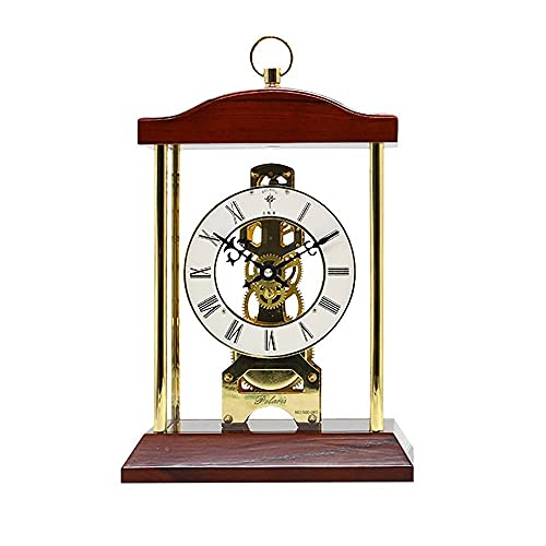 Reloj de chimenea con función de timbre por hora y números romanos con esfera mecánica, reloj de escritorio retro, reloj de escritorio de madera, reloj de reloj de reloj (color: marrón) ZZYYLLYZ