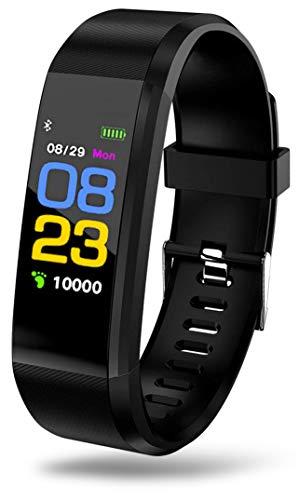 Forme Aktivitätstracker Smart Watch Aktivität Fitness Armband Watches I Herzfrequenz Uhr I Blutdruck I Pulsmesser I Schrittzähler Aktivitätstracker I Call SMS Whatsapp Alarm Anruf Mahnung (Schwarz)